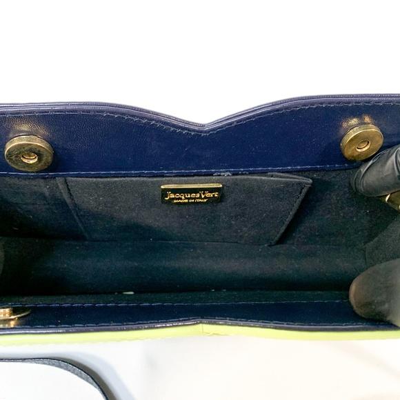Vintage Jacques Vert Blue Leather Shoulder Bag Clutch